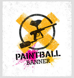 Paintball marker gun splat banner on grunge vector