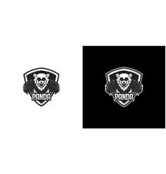 panda shield logo design vector image