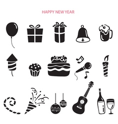 Party Decoration Icons Set Monochrome vector image