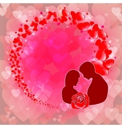 Pink backgrounda silhouette of guy with girl vector image