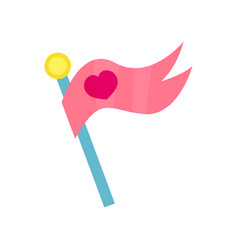 pink flag with heart cartoon vector image