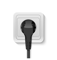 realistic 3d black plug inserted in a wall vector image