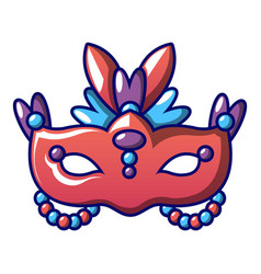 red carnival mask icon cartoon style vector image