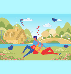 romantic couple in love in countryside landscape vector image