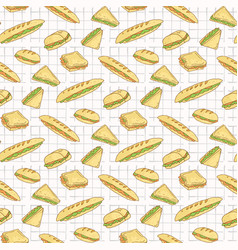 sandwiches on tablecloth seamless pattern vector image