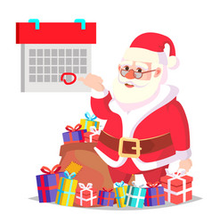 santa claus and calendar with a red mark vector image