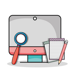 screen computer with magnifying glass and pencil vector image
