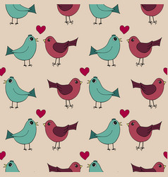 Seamless pattern with lovely hand-drawn birds vector