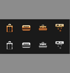 Set lift hotel key card bedroom and air vector