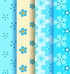 Set of 4 forget-me-not seamless pattern vector