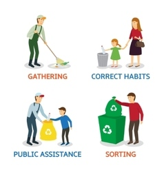 Set of cartoon people gathering garbage vector