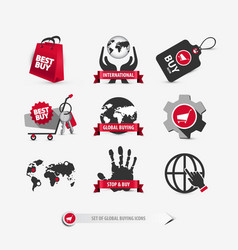 Set of global buying icons vector