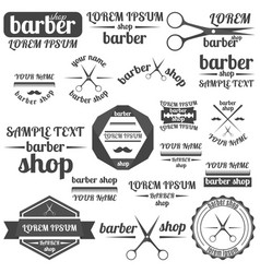 set of grey emblem for barber shop vector image