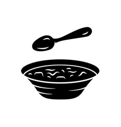 soup glyph icon bowl and spoon kitchenware hot vector image