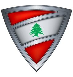 steel shield with flag lebanon vector image