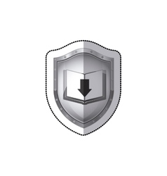 Sticker shield with book and arrow in shade vector