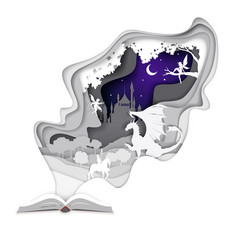 story book in paper art style vector image