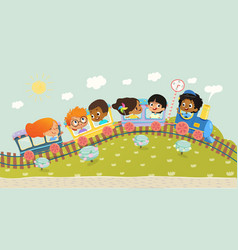 the multiracial kids having trip vector image