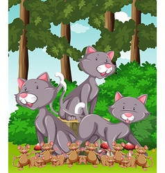 Three cats and lots of mouse in the park vector