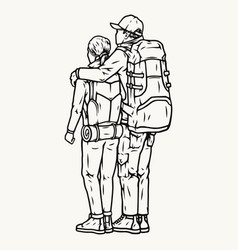 Travelers couple standing with their backs vector