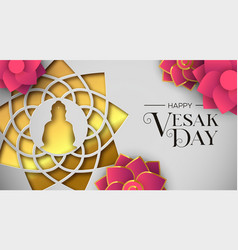 Vesak day card papercut buddha and lotus flower vector