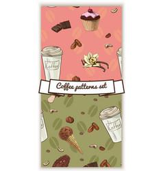 Vintage coffee patterns vector