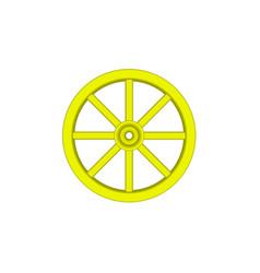 vintage wooden wheel in yellow design vector image