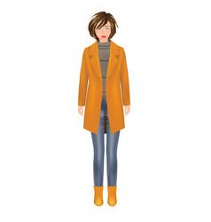 woman in yellow coat vector image