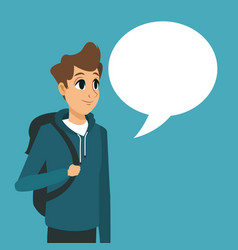 young guy backpack with bubble speech vector image