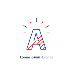 Alphabet character a simple striped letter red vector