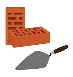 Brick and spatula vector image