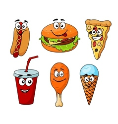 Colorful cartoon set of fast food icons vector image vector image