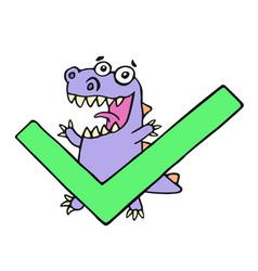 happy dragon and big green tick vector image vector image