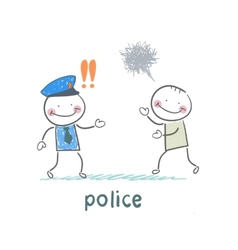 Police listen to the girl who runs vector image