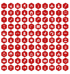 100 happy childhood icons hexagon red vector image vector image