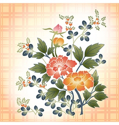 embroidered Japanese style floral bouquet on plaid vector image vector image