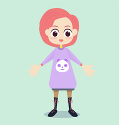 Flat cute girl character design vector