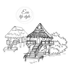 a wooden houses on the water with a thatched roof vector image vector image