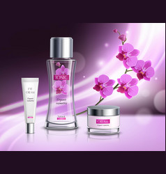 Cosmetics products realistic composition poster vector