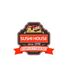japanese sushi platter label of asian restaurant vector image vector image