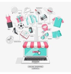 Shopping stores online conceptual line icons style vector image vector image