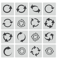 black refresh icons set vector image vector image