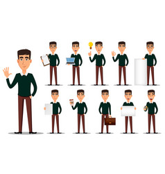 business man cartoon character set vector image vector image