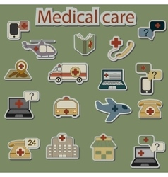 emergency and medical care icons set vector image vector image