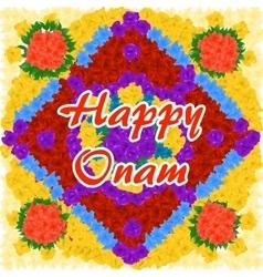 Flower background for indian festival happy onam vector