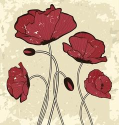 Retro style poppy flowers vector image