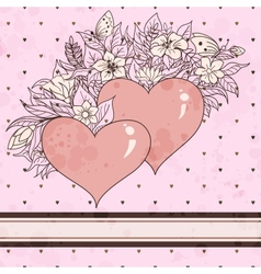 Vintage sketch of hearts and flowers vector image vector image