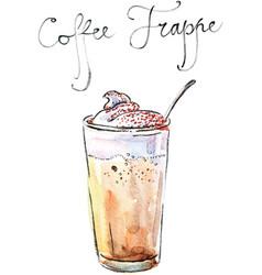 watercolor coffee frappe vector image vector image