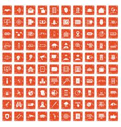 100 security icons set grunge orange vector