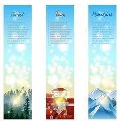 3 landscape banners vector